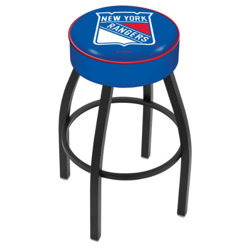 "25"" New York Rangers Cushion Seat with Black Wrinkle Base Swivel Bar Stool by Holland Bar Stool mpany ; UPC: 071235092788"