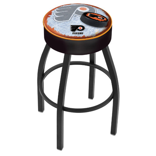 "30"" Philadelphia Flyers Cushion Seat with Black Wrinkle Base (Design 2) Swivel Bar Stool by Holland Bar Stool mpany ; UPC: 071235096830"