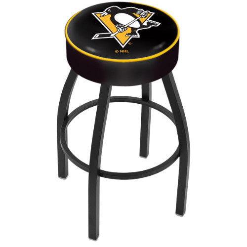 "25"" Pittsburgh Penguins Cushion Seat with Black Wrinkle Base Swivel Bar Stool by Holland Bar Stool mpany ; UPC: 071235092887"