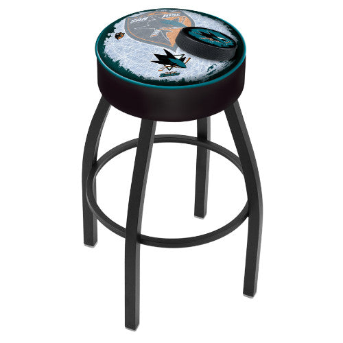 "30"" San Jose Sharks Cushion Seat with Black Wrinkle Base (Design 2) Swivel Bar Stool by Holland Bar Stool mpany ; UPC: 071235096908"