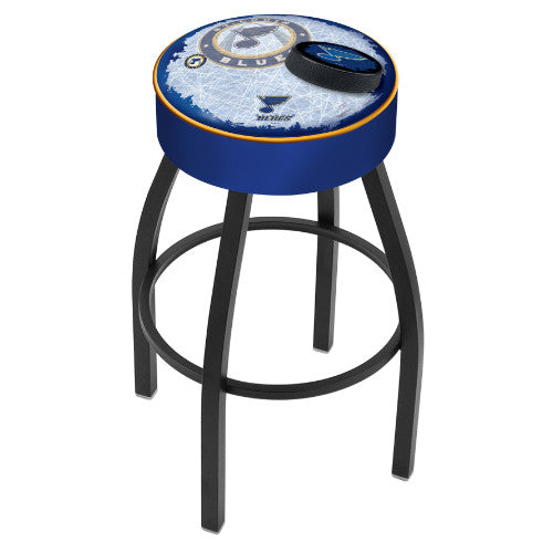 "25"" St Louis Blues Cushion Seat with Black Wrinkle Base (Design 2) Swivel Bar Stool by Holland Bar Stool mpany ; UPC: 071235095260"