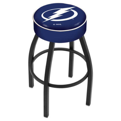 "30"" Tampa Bay Lightning Cushion Seat with Black Wrinkle Base Swivel Bar Stool by Holland Bar Stool mpany ; UPC: 071235092955"