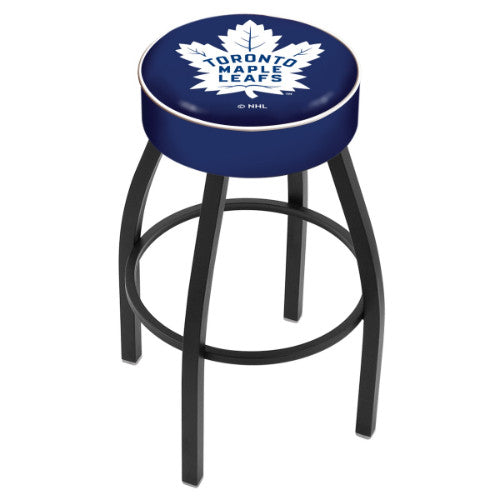 "30"" Toronto Maple Leafs Cushion Seat with Black Wrinkle Base Swivel Bar Stool by Holland Bar Stool mpany ; UPC: 071235092979"
