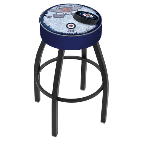 "30"" Winnipeg Jets Cushion Seat with Black Wrinkle Base (Design 2) Swivel Bar Stool by Holland Bar Stool mpany ; UPC: 071235097318"