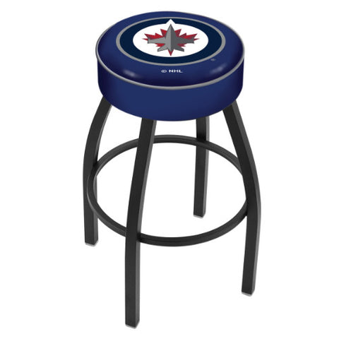 "30"" Winnipeg Jets Cushion Seat with Black Wrinkle Base Swivel Bar Stool by Holland Bar Stool mpany ; UPC: 071235093037"