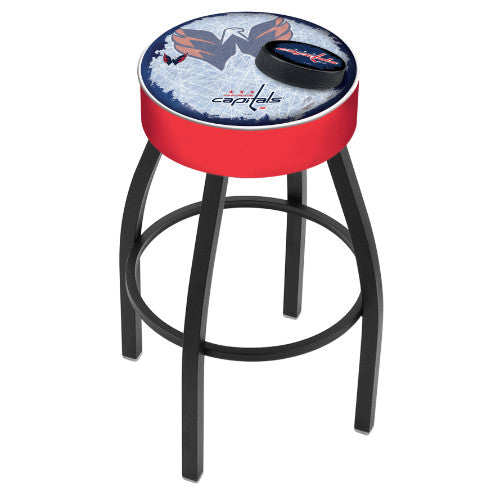 "25"" Washington Capitals Cushion Seat with Black Wrinkle Base (Design 2) Swivel Bar Stool by Holland Bar Stool mpany ; UPC: 071235095642"