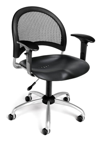 OFM 336-P-AA3-BLK Moon Swivel Plastic Chair with Arms, ; UPC: 845123014455 ; Image 1