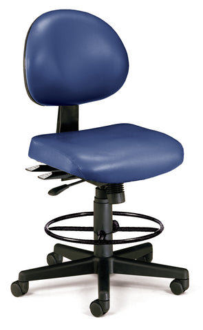 OFM 241-VAM-DK 24 Hour Ergonomic Armless Task Chair with Drafting Kit, Antimicrobial Vinyl, Mid Back, Navy ; UPC: 845123012574 ; Image 1