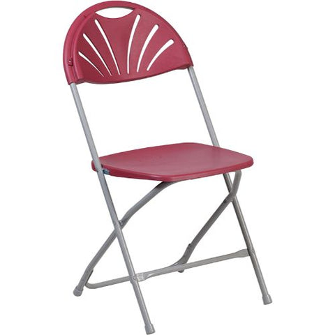 Flash Furniture HERCULES Series 650 lb. Capacity Burgundy Plastic Fan Back Folding Chair LEL4BURGG ; Image 1 ; UPC 889142090779