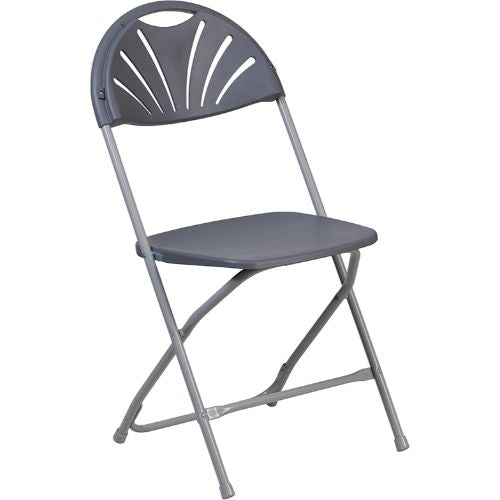 Flash Furniture HERCULES Series 650 lb. Capacity Charcoal Plastic Fan Back Folding Chair LEL4CHGG ; Image 1 ; UPC 889142090786