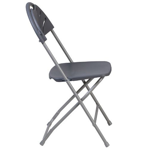 Flash Furniture HERCULES Series 650 lb. Capacity Charcoal Plastic Fan Back Folding Chair LEL4CHGG ; Image 3 ; UPC 889142090786