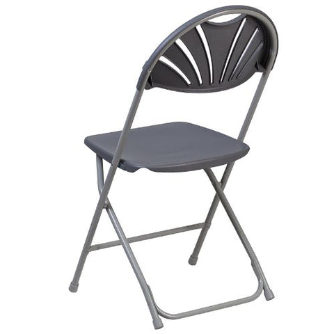 Flash Furniture HERCULES Series 650 lb. Capacity Charcoal Plastic Fan Back Folding Chair LEL4CHGG ; Image 4 ; UPC 889142090786