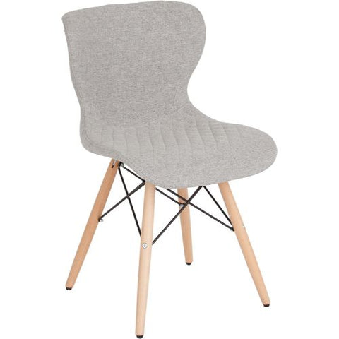 Flash Furniture Riverside Contemporary Upholstered Chair with Wooden Legs in Light Gray Fabric LF907MLTGFGG ; Image 1 ; UPC 889142340041