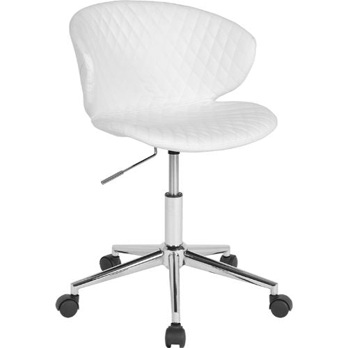 Flash Furniture Cambridge Home and Office Upholstered Low Back Chair in White Vinyl LF917WHGG ; Image 1 ; UPC 889142340225