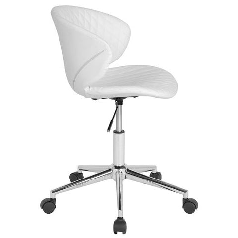 Flash Furniture Cambridge Home and Office Upholstered Low Back Chair in White Vinyl LF917WHGG ; Image 2 ; UPC 889142340225