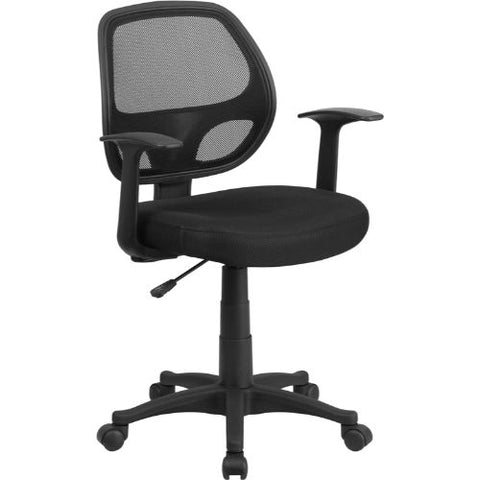 Flash Mid-Back Black Mesh Swivel Task Chair with Arms