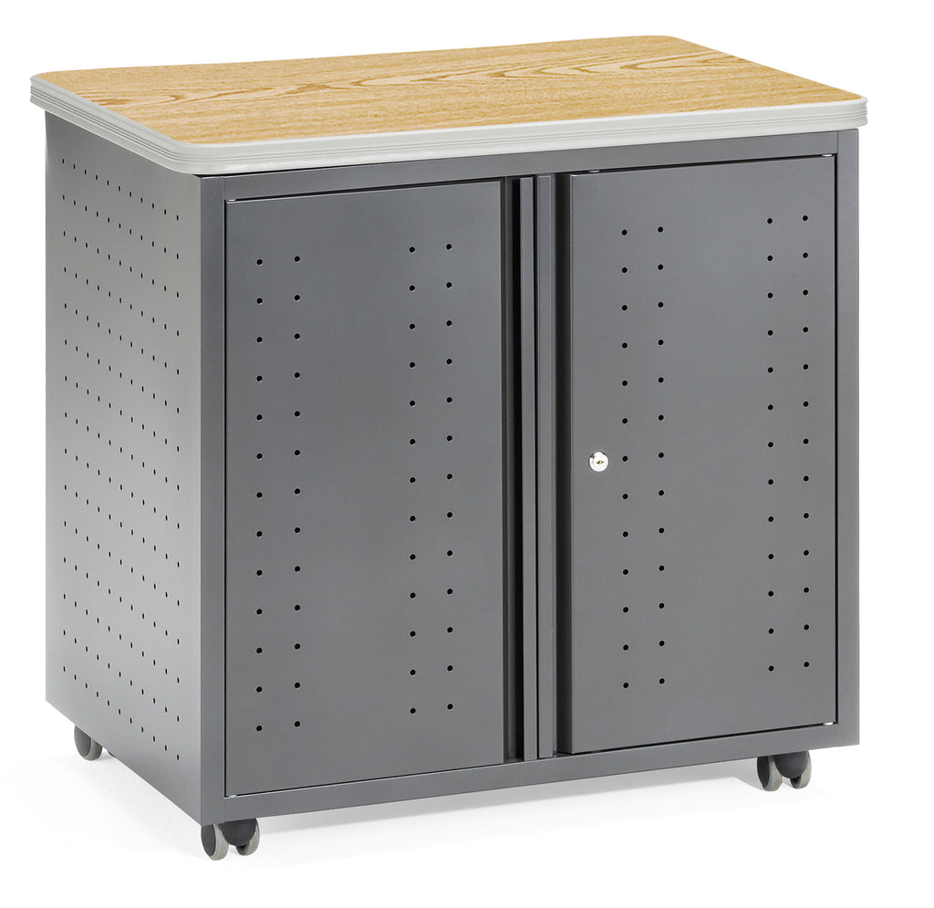 OFM Mesa Series Model 66746 Wheeled Locking Mobile Utility Station Cabinet with Laminate Top, Oak ; UPC: 845123021842 ; Image 1