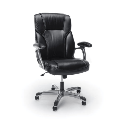 Essentials by OFM ESS-6030 High-Back Bonded Leather Executive Chair with Fixed Arms, Black ; UPC: 089191013969 ; Image 1