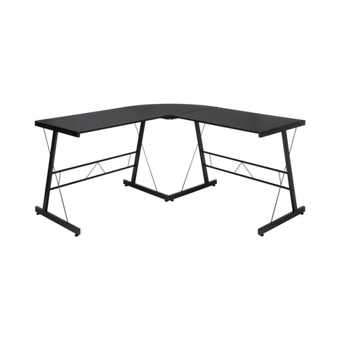 "OFM Essentials Collection 60"" Metal Frame L-Shaped Desk, Corner Computer Desk, in Black (ESS-1021 -BLK-BLK) ; UPC: 192767000079 ; Image 2"