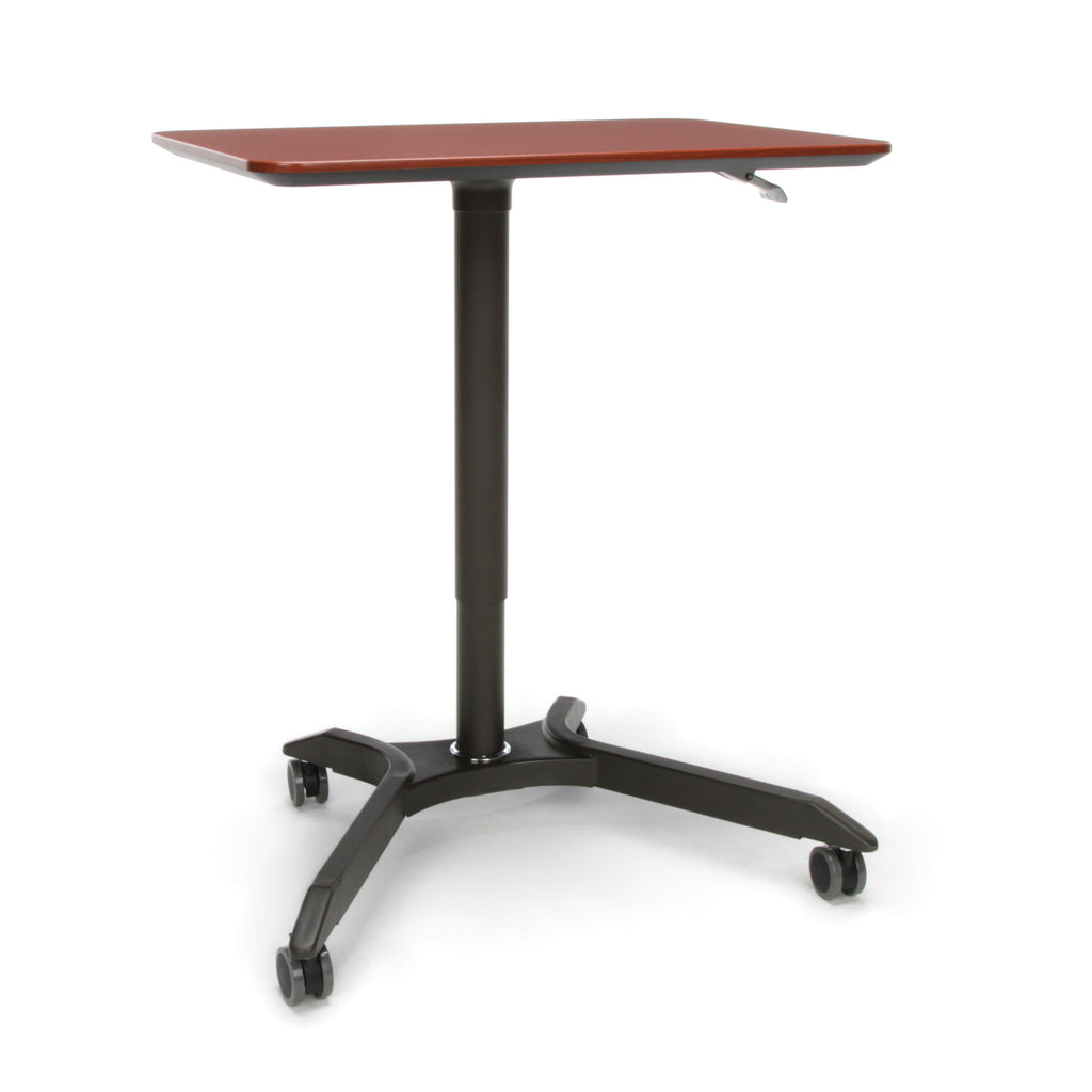 OFM Mesa Series Mobile Standing Desk - Height Adjustable Laptop Table, Workstation, Cherry/Gray (66100-CHY) ; UPC: 845123092835 ; Image 1