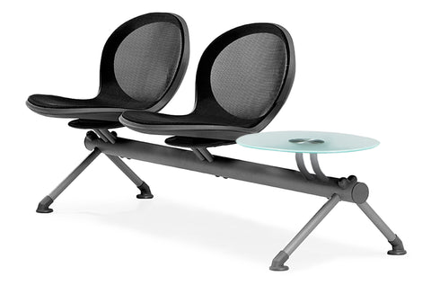 OFM NB-3G-BLACK Net Series Beam Seating with 2 Chairs and Single Table, Black ; UPC: 845123026977 ; Image 1