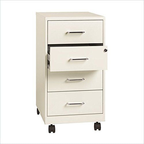 "Lorell 4-drawer 26-1/2"" Mobile Storage Cabinet LLR19537, White (UPC:029404195372)"
