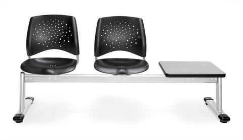 OFM 323T-P-BLK-GY Stars 3-Unit Beam Seating with 2 Plastic Seats and 1 Table ; UPC: 845123024607 ; Image 1