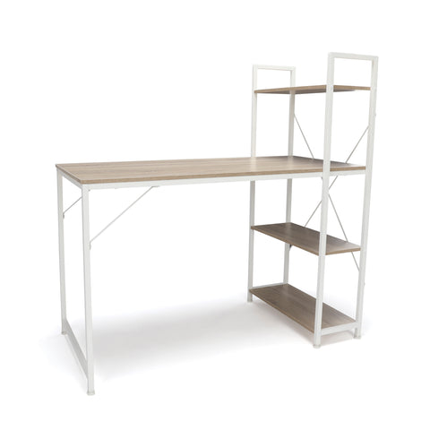 Essentials by OFM ESS-1004 Combination Desk with 4 Shelf Unit, Natural with White Frame ; UPC: 845123095478 ; Image 1