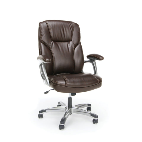 Essentials by OFM ESS-6030 High-Back Bonded Leather Executive Chair with Fixed Arms, Brown ; UPC: 089191013976 ; Image 1