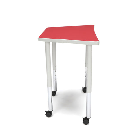 OFM Adapt Series Trapezoid Standard Table - 25-33? Height Adjustable Desk with Casters, Red (TRAP-LLC) ; UPC: 845123096727 ; Image 4