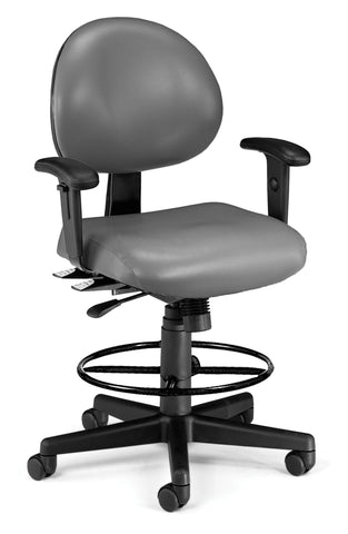 OFM 241-VAM-AADK 24 Hour Ergonomic Task Chair with Arms and Drafting Kit, Antimicrobial Vinyl, Mid Back, Charcoal ; UPC: 845123012475 ; Image 1