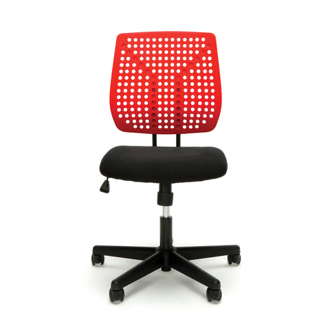 Essentials by OFM ESS-2050 Plastic Back Task Chair, Black with Red ; UPC: 845123092972 ; Image 2