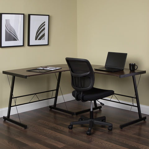 "OFM Essentials Collection 60"" Metal Frame L-Shaped Desk, Corner Computer Desk, in Wenge (ESS-1021 -BLK-WEN) ; UPC: 192767000086 ; Image 11"