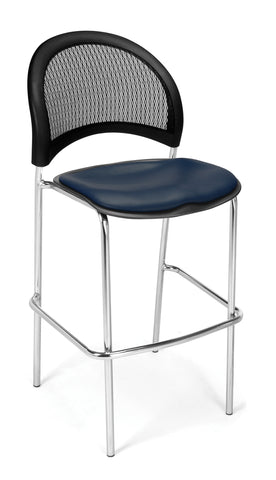 OFM 338C-VAM-605 Moon Cafe Height Vinyl Chrome Chair, Navy ; UPC: 845123021651 ; Image 1