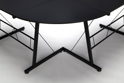 "OFM Essentials Collection 60"" Metal Frame L-Shaped Desk, Corner Computer Desk, in Black (ESS-1021 -BLK-BLK) ; UPC: 192767000079 ; Image 9"