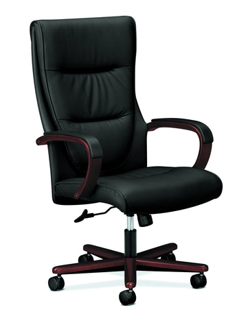 HON Topflight High-Back Executive Chair, in Black Leather (HVL844) ; UPC: 089191137986 ; Image 1