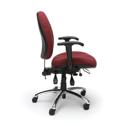 OFM 24 Hour Big and Tall Ergonomic Task Chair - Computer Desk Swivel Chair with Arms, Burgundy (247) ; UPC: 811588010288 ; Image 4
