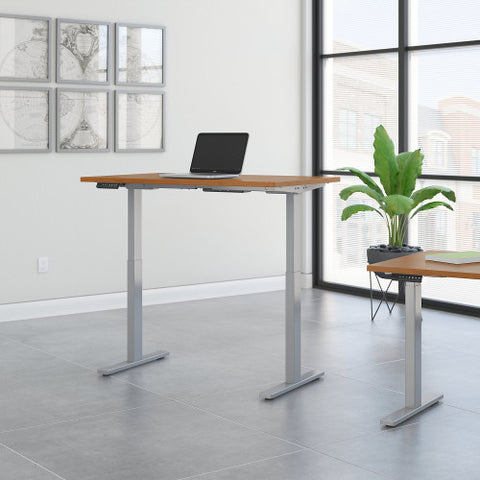 Bush Move 60 Series 48W x 24D Height Adjustable Standing Desk, Natural Cherry M6S4824NCSK ; UPC: 042976067076 ; Image 2