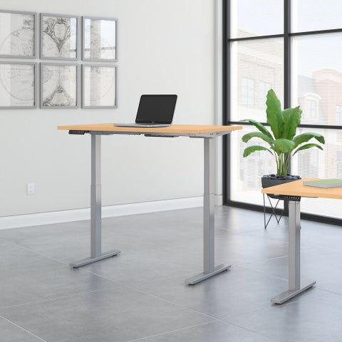 Bush Move 60 Series 48W x 30D Height Adjustable Standing Desk, Natural Maple M6S4830ACSK ; UPC: 042976067472 ; Image 2