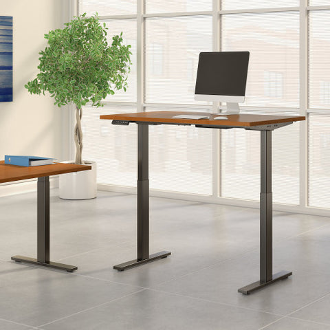 Bush Move 60 Series 48W x 30D Height Adjustable Standing Desk, Natural Cherry M6S4830NCBK ; UPC: 042976067342 ; Image 2