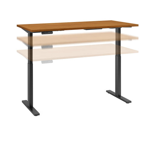 Bush Move 60 Series 60W x 24D Height Adjustable Standing Desk, Natural Cherry M6S6024NCBK ; UPC: 042976067670 ; Image 1