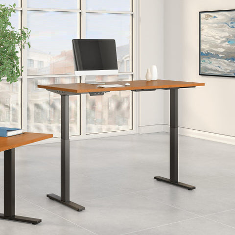 Bush Move 60 Series 60W x 24D Height Adjustable Standing Desk, Natural Cherry M6S6024NCBK ; UPC: 042976067670 ; Image 2