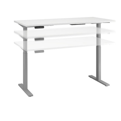 Bush Move 60 Series 60W x 24D Height Adjustable Standing Desk, White M6S6024WHSK ; UPC: 042976067786 ; Image 1