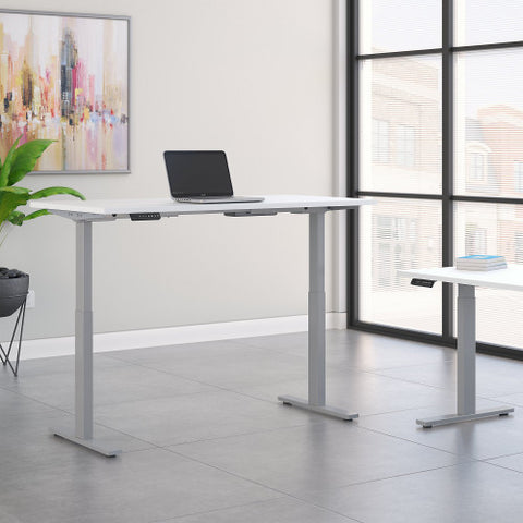 Bush Move 60 Series 60W x 24D Height Adjustable Standing Desk, White M6S6024WHSK ; UPC: 042976067786 ; Image 2