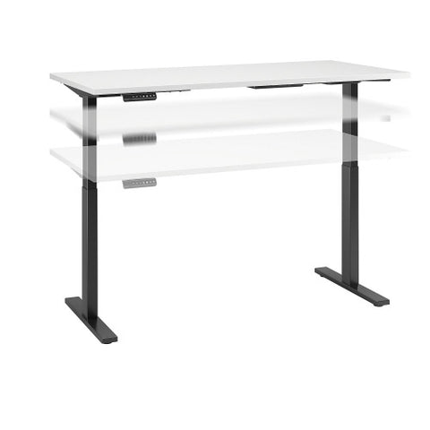 Bush Move 60 Series 60W x 30D Height Adjustable Standing Desk, White M6S6030WHBK ; UPC: 042976068066 ; Image 1