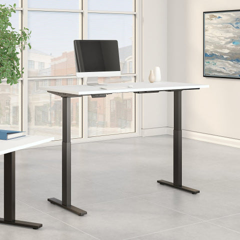 Bush Move 60 Series 60W x 30D Height Adjustable Standing Desk, White M6S6030WHBK ; UPC: 042976068066 ; Image 2