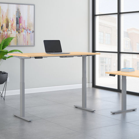 Bush Move 60 Series 72W x 24D Height Adjustable Standing Desk, Natural Maple M6S7224ACSK ; UPC: 042976068318 ; Image 2