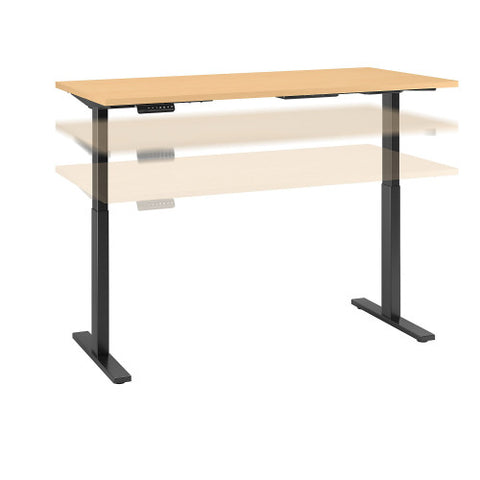 Bush Move 60 Series 72W x 30D Height Adjustable Standing Desk, Natural Maple M6S7230ACBK ; UPC: 042976068684 ; Image 1