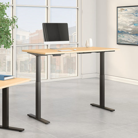 Bush Move 60 Series 72W x 30D Height Adjustable Standing Desk, Natural Maple M6S7230ACBK ; UPC: 042976068684 ; Image 2