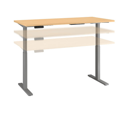 Bush Move 60 Series 72W x 30D Height Adjustable Standing Desk, Natural Maple M6S7230ACSK ; UPC: 042976068707 ; Image 1